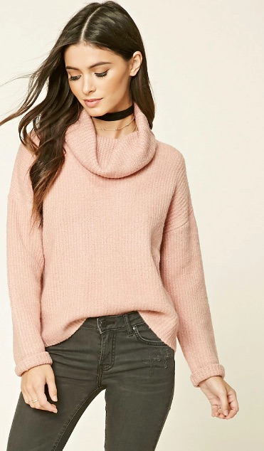 Cowl-Neck Sweater (Pink) - $24.90
