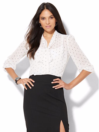 Tie Front Bow Blouse (Polka-Dot) - $29.99