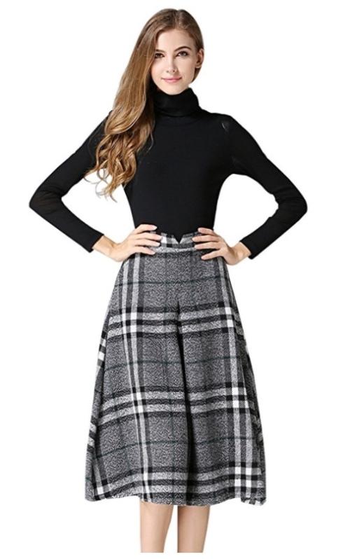 amazon_womens_high_waisted_plaid_aline_skirt