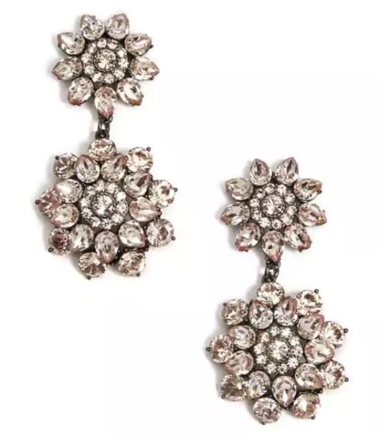 forever 21_floral faux gem drop earrings